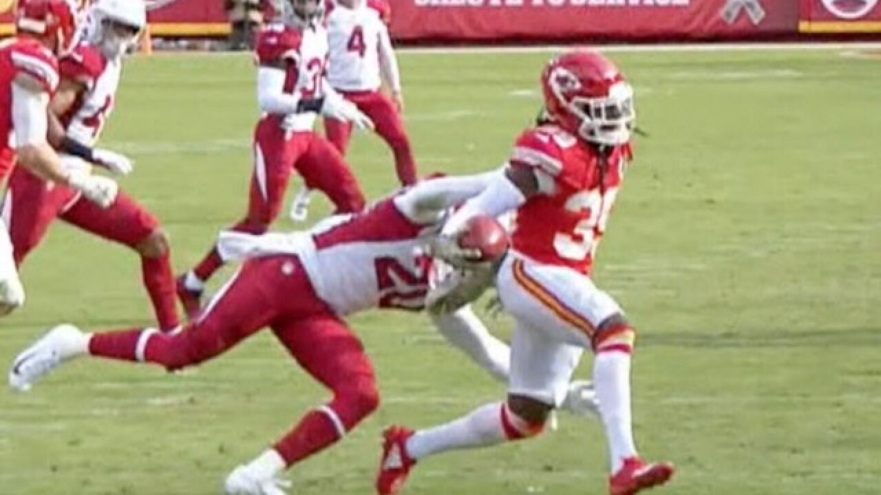 OUCH: Cardinals' Deone Bucannon tackles Chiefs player by his hair