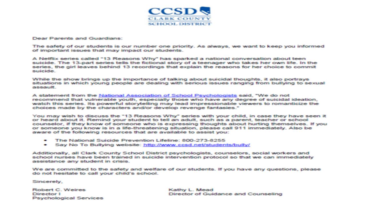 CCSD letter asks parents to ban Netflix show