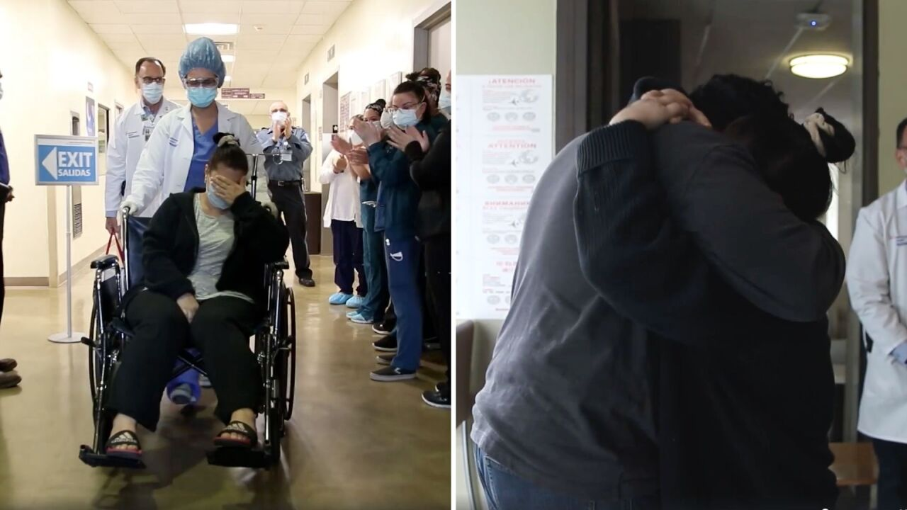 Video shows the moment a mother of 5 reunites with husband following 15-day battle with COVID-19