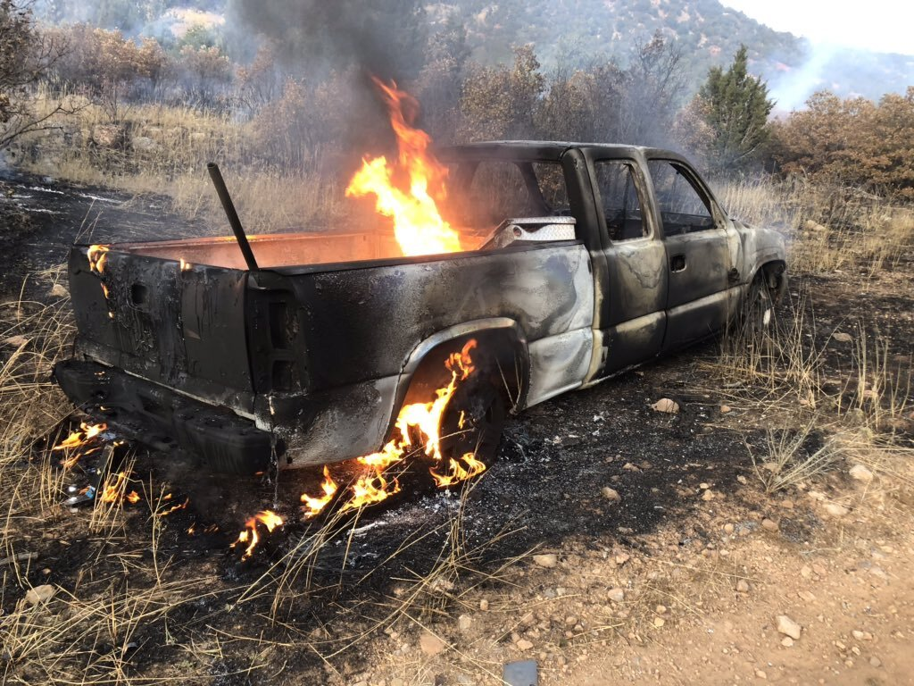 Photos: Burning pickup truck ignites wildfire near Pole Creek burn scar