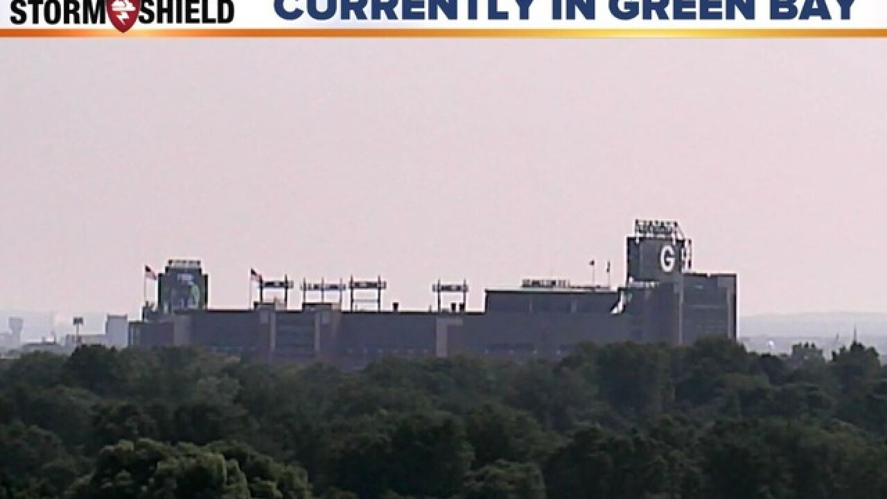 Haze from wildfires visible over Lambeau Field
