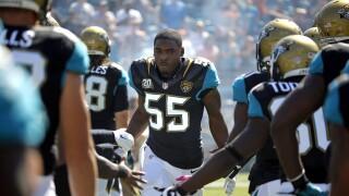 Jacksonville Jaguars linebacker Geno Hayes before game in 2014