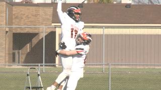 Belding's Ethan Hodges celebrates a touchdown
