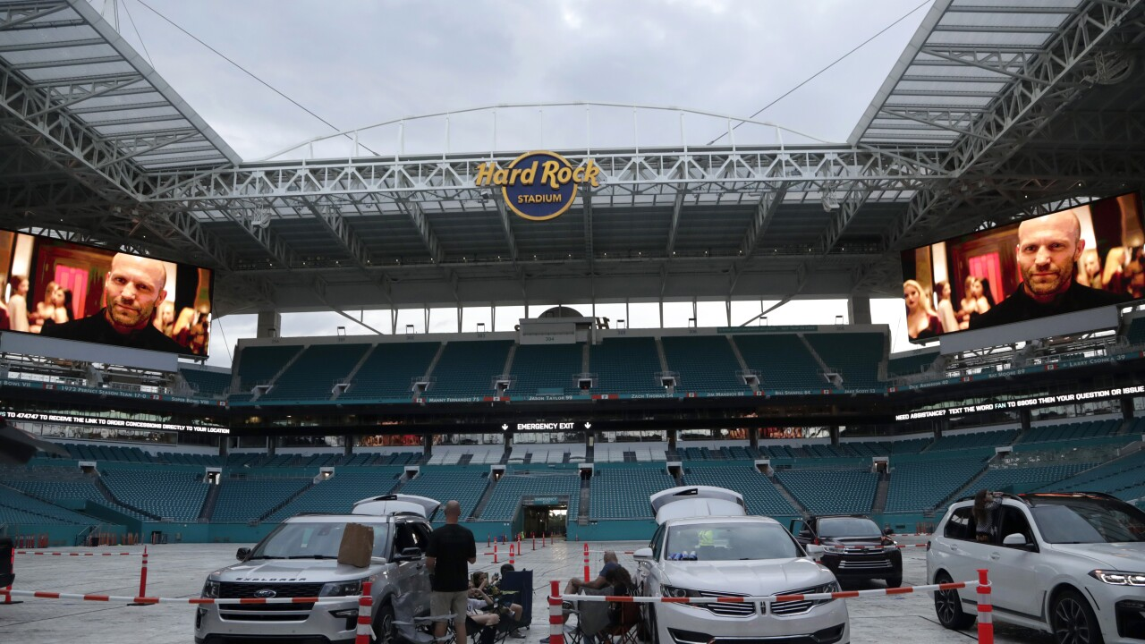 people watch movie in drive-in theater at Hard Rock Stadium