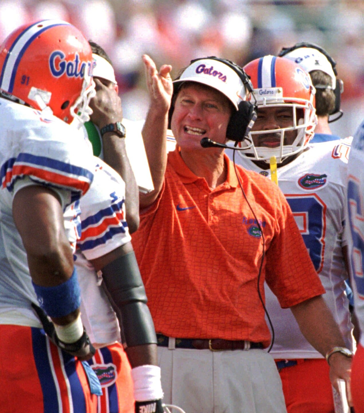 Florida Gators head coach Steve Spurrier yells at players during game vs. Florida State Seminoles in 1996