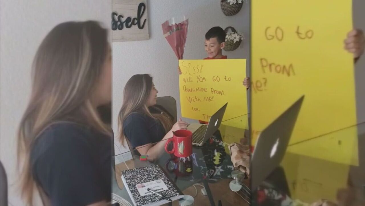 Nine-year-old Tyson Trujillo surprises his 18-year-old sister, Jacelynn Trujillo, with her own 'promposal'