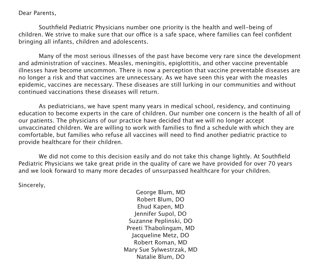 Southfield Pediatric Physicians immunization letter
