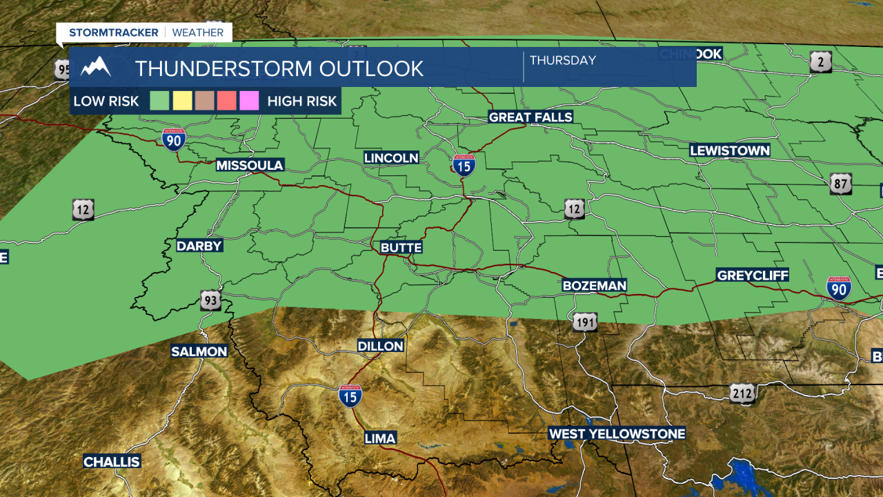 Strong thunderstorms are possible Thursday afternoon and evening