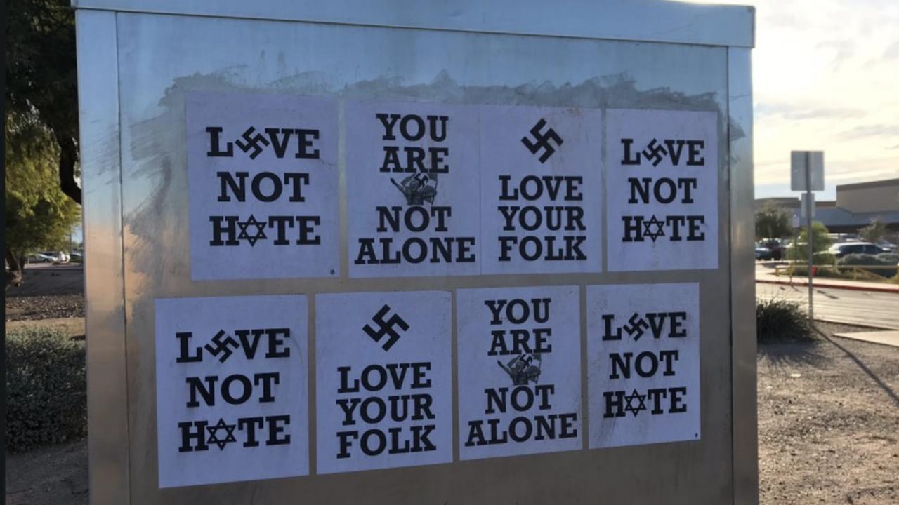 Swastikas plastered outside Skyline High School in Mesa