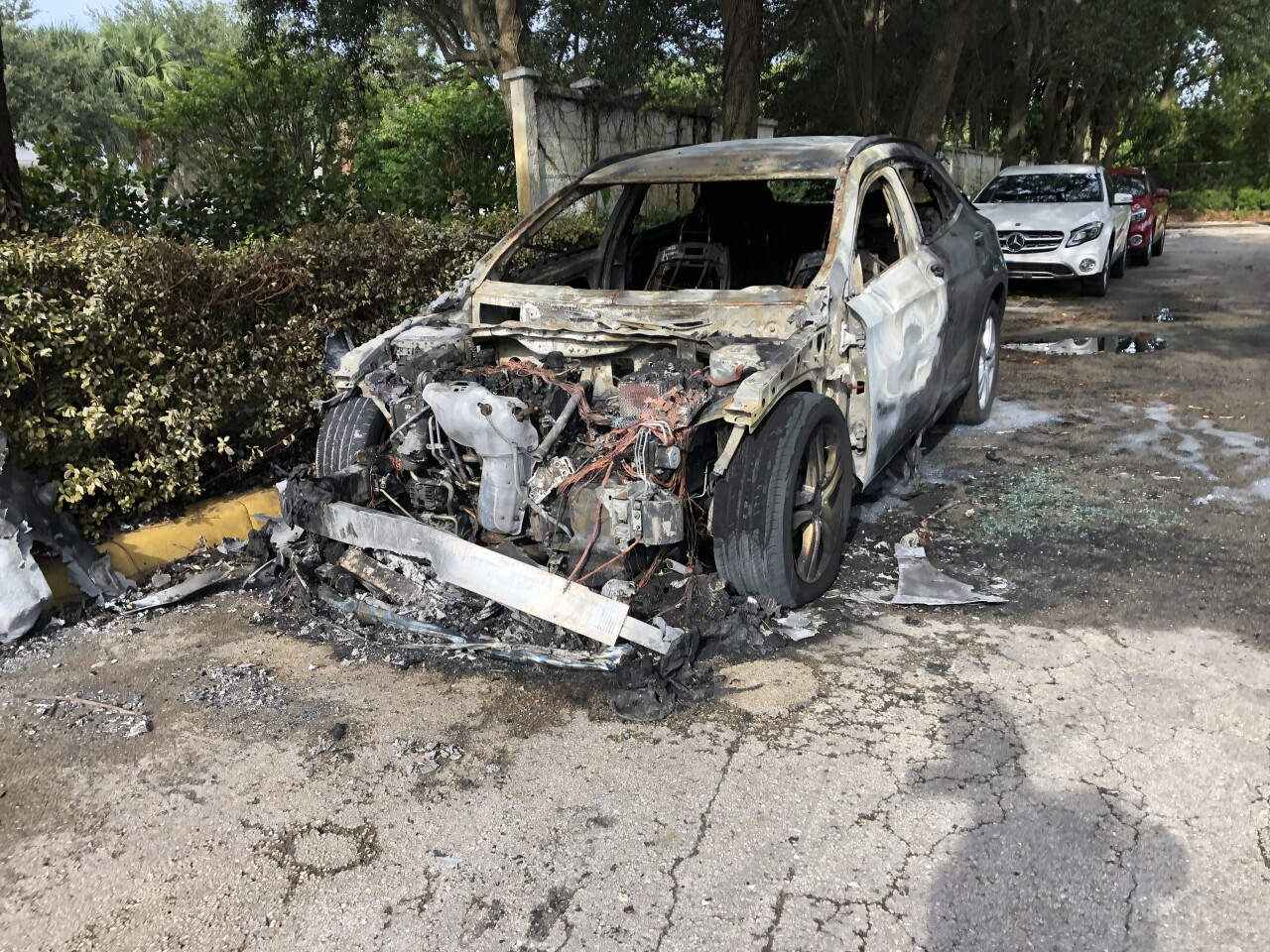 Charred Mercedes-Benz on car lot in West Palm Beach