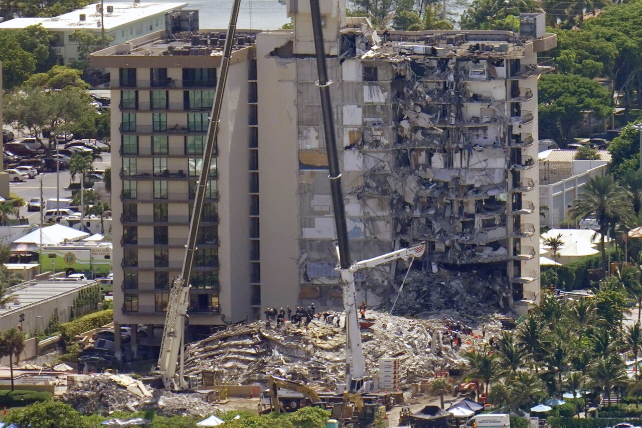 Aerial view of Champlain Towers South condo collapse, June 27, 2021