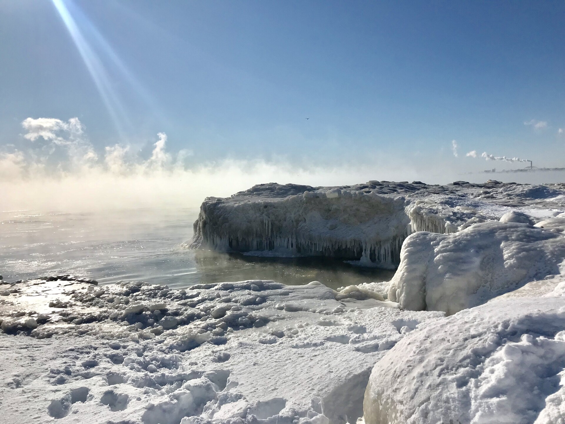 A frozen land looking onto Lake Michigan