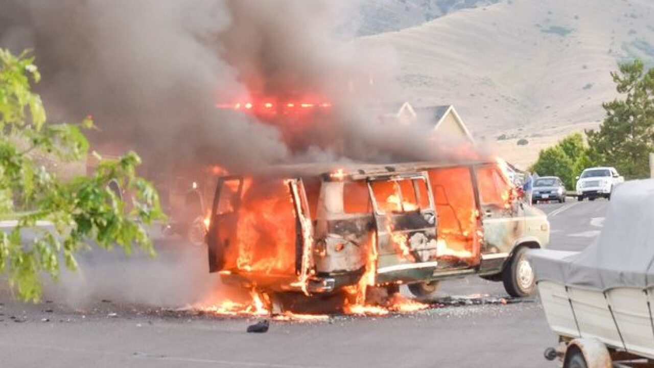 Family of five hospitalized after van bursts intoflames