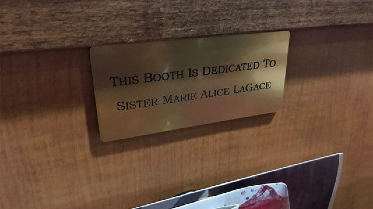 Nun gets restaurant booth named in her honor