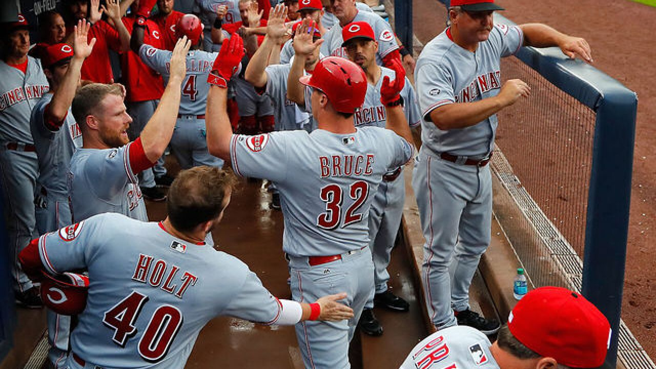 Bruce hits 3-run HR as Reds beat Braves 3-1