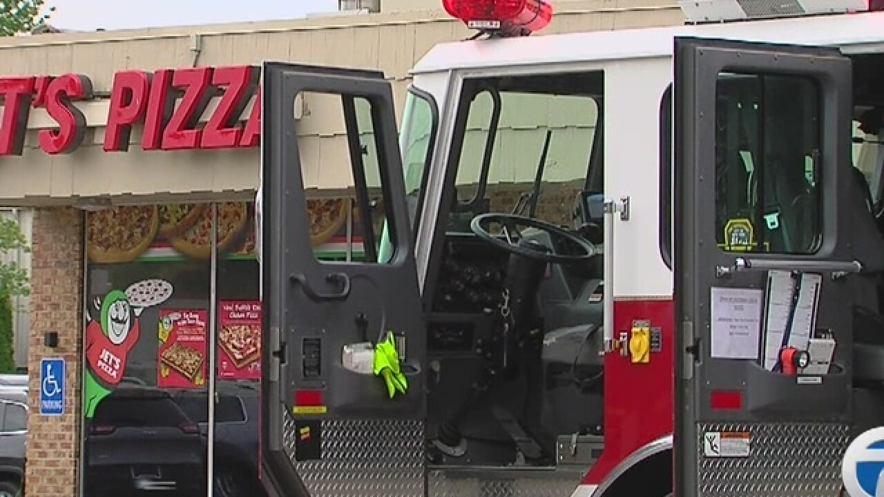 Fire erupts inside Jet's pizza in Walled Lake