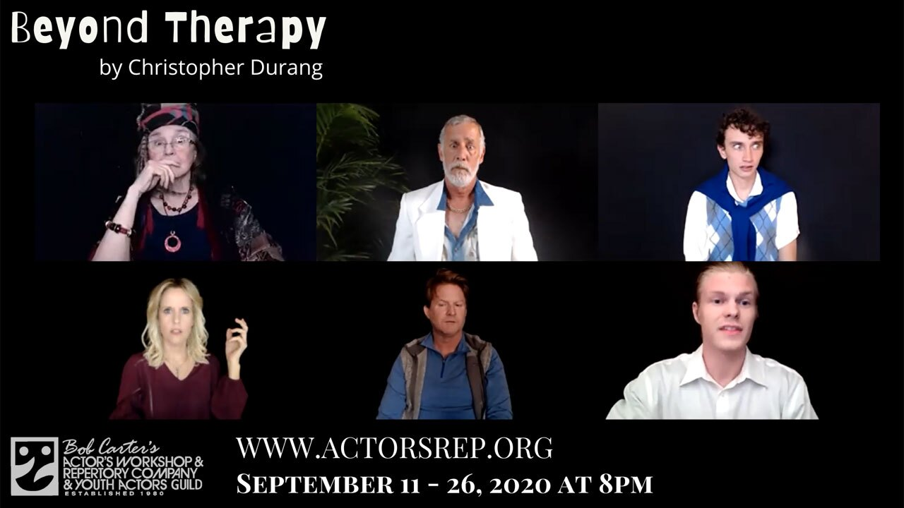 """""""Beyond Therapy"""" is a play being streamed Sept. 11 to Sept. 26 by the Bob Carter's Actor's Workshop and Repertory Company."""