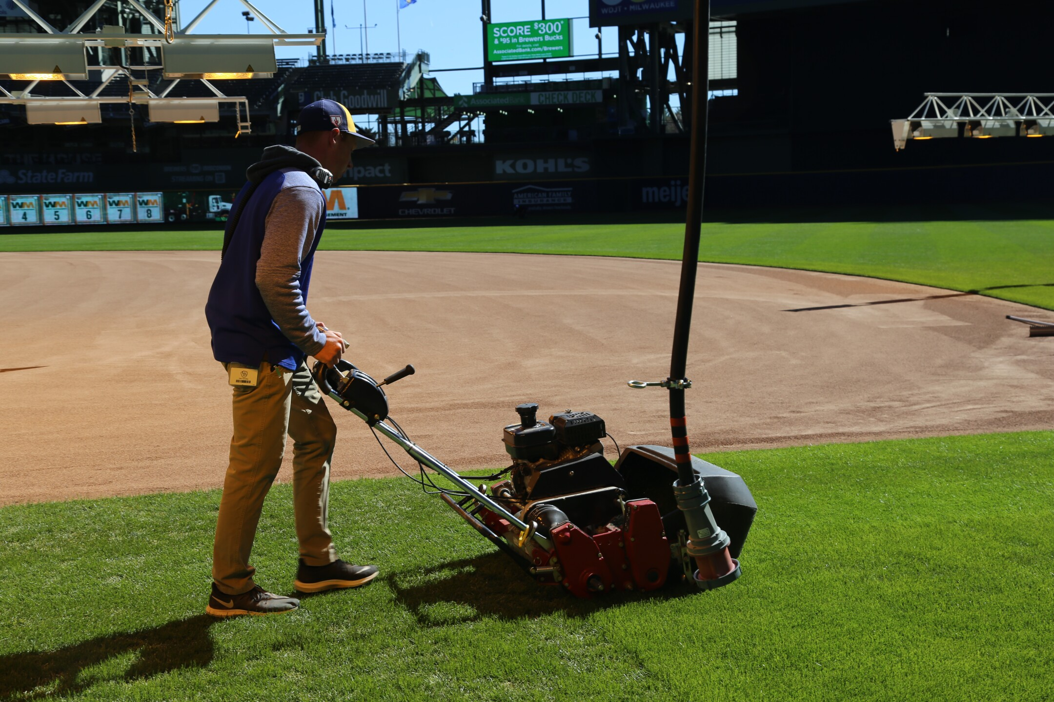 Opening Day for the Milwaukee Brewers is days away. The field preparation is underway.