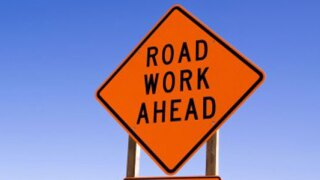 Road work ahead sign file photo