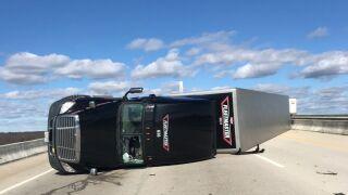 Truck overturns on Varina-Enon Bridge