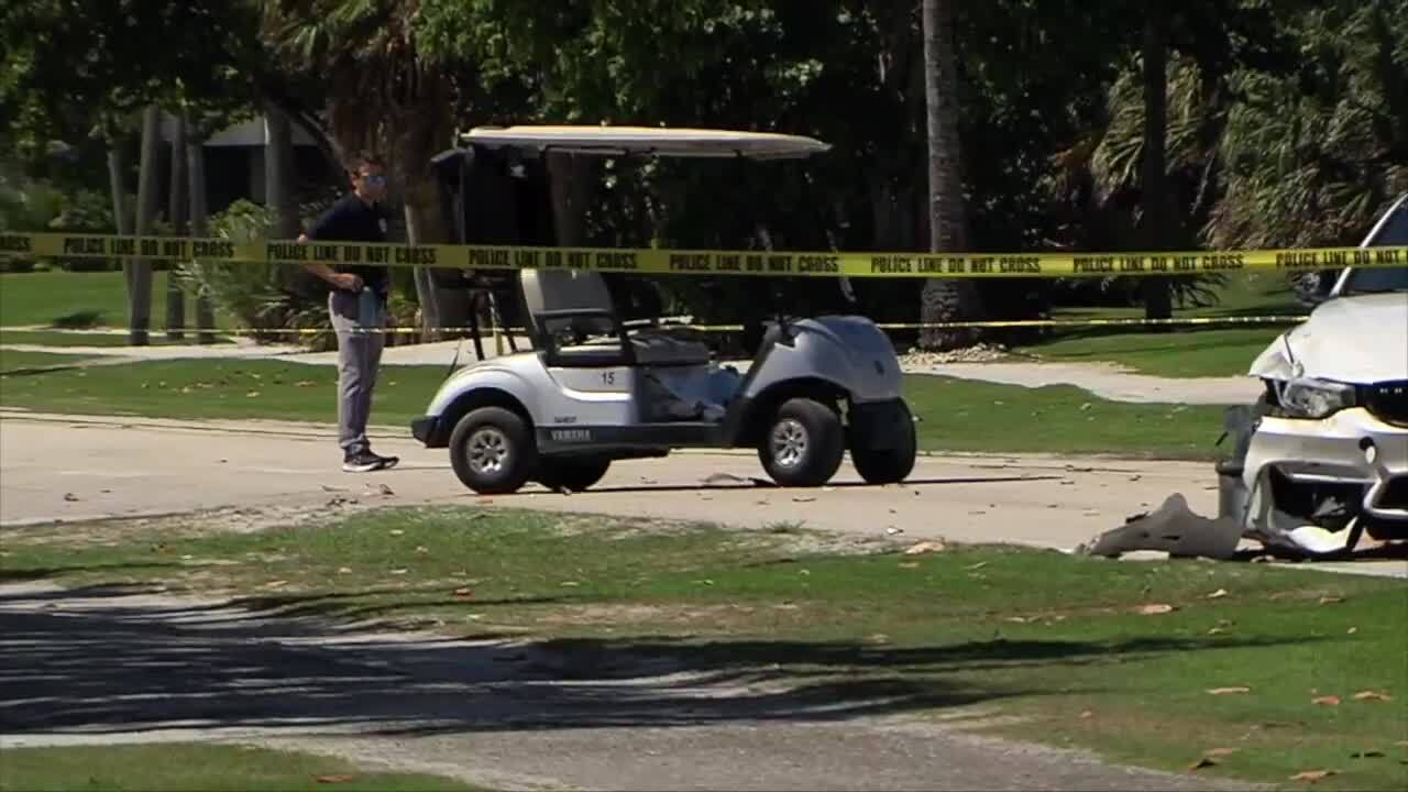 Police investigate golf cart crash outside Palm Beach Par 3 Golf Course, June 8, 2021