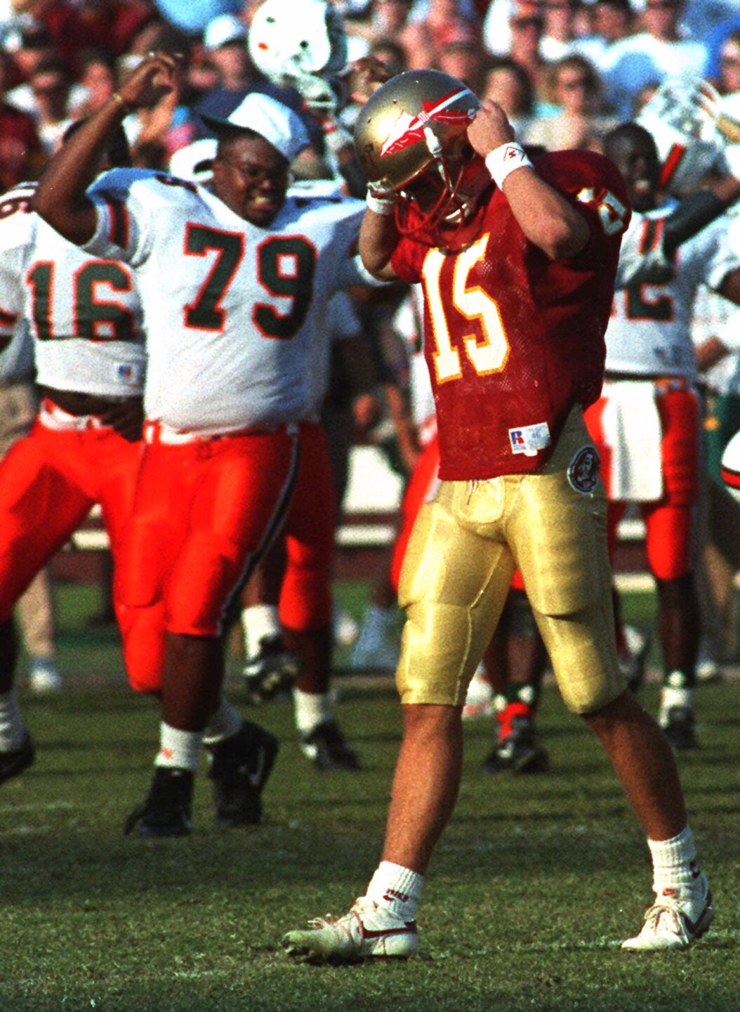 Florida State Seminoles kicker Gerry Thomas walks off field after 'Wide Right I' against Miami Hurricanes in 1991