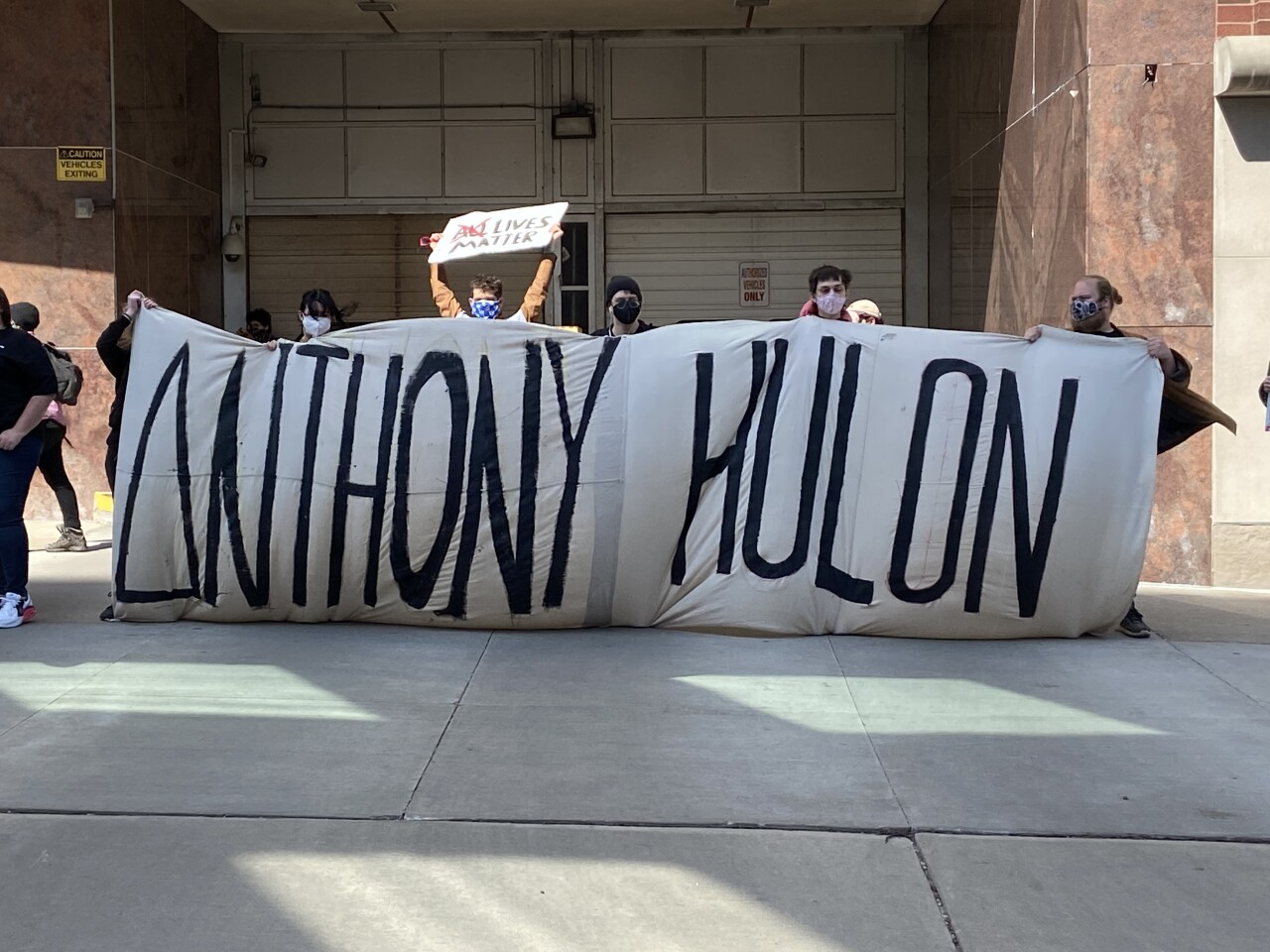 Dozens of protestors gathered to rally for Anthony Hulon's death