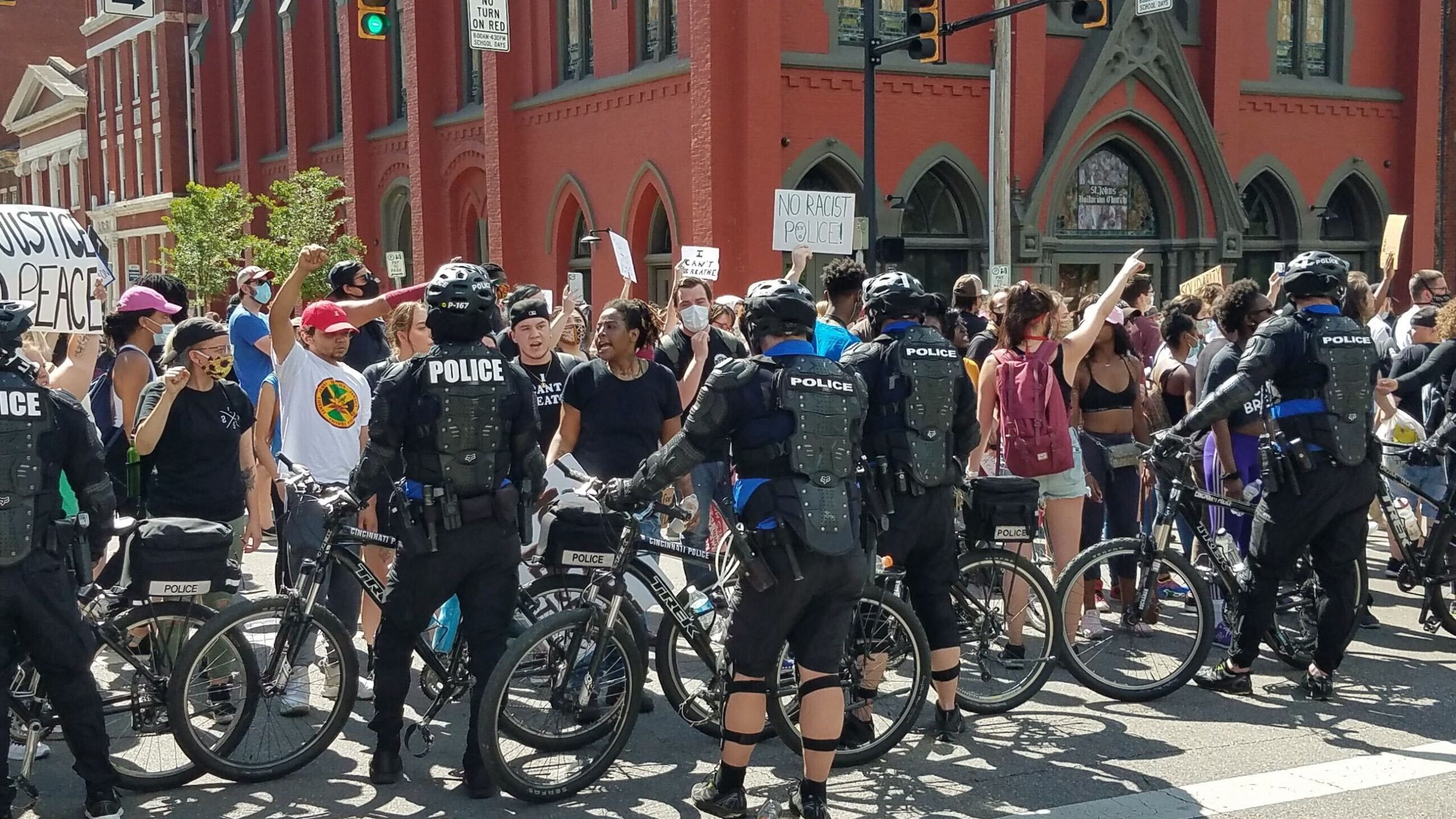 Bike police and protesters.jpg