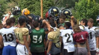 Montana all-stars huddle up for Saturday's KOC Badlands Bowl