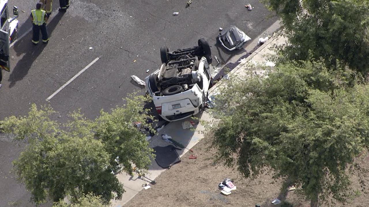 Rollover crash Broadway and Valencia in Mesa