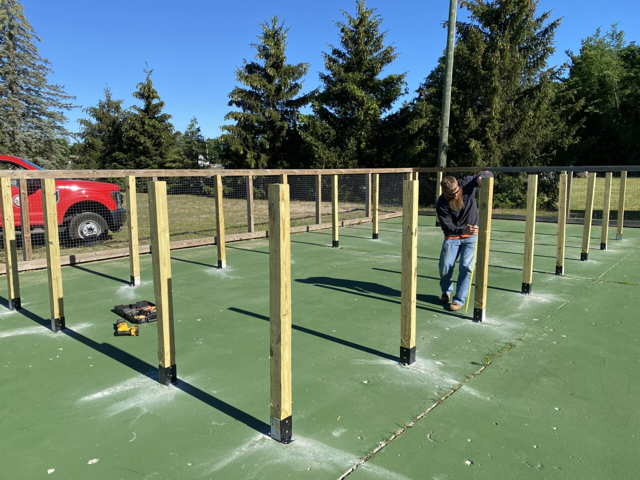 Crews are working on the human foosball fields in Eaton Rapids