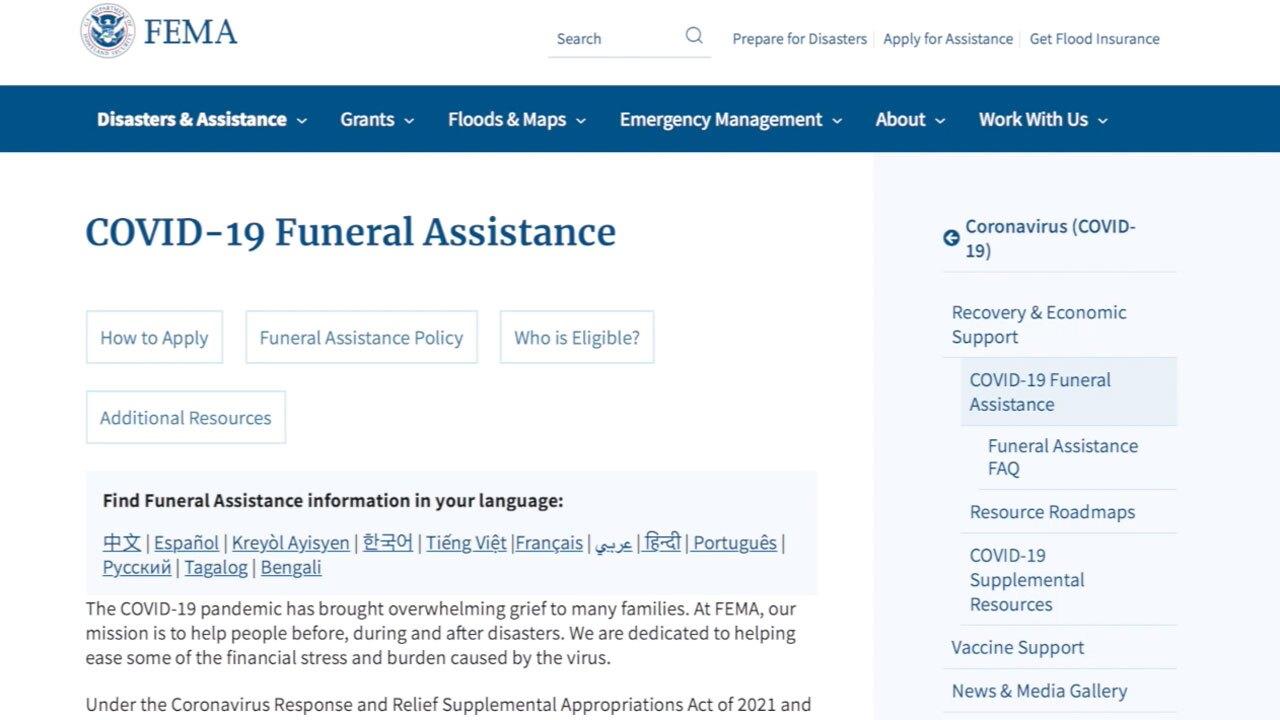 FEMA COVID burial assistance website