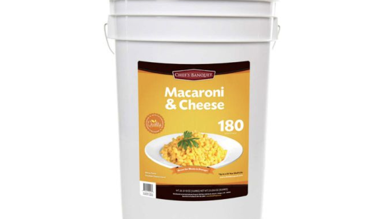This 27-pound bucket of mac and cheese, sold at Costco, lasts 20 years