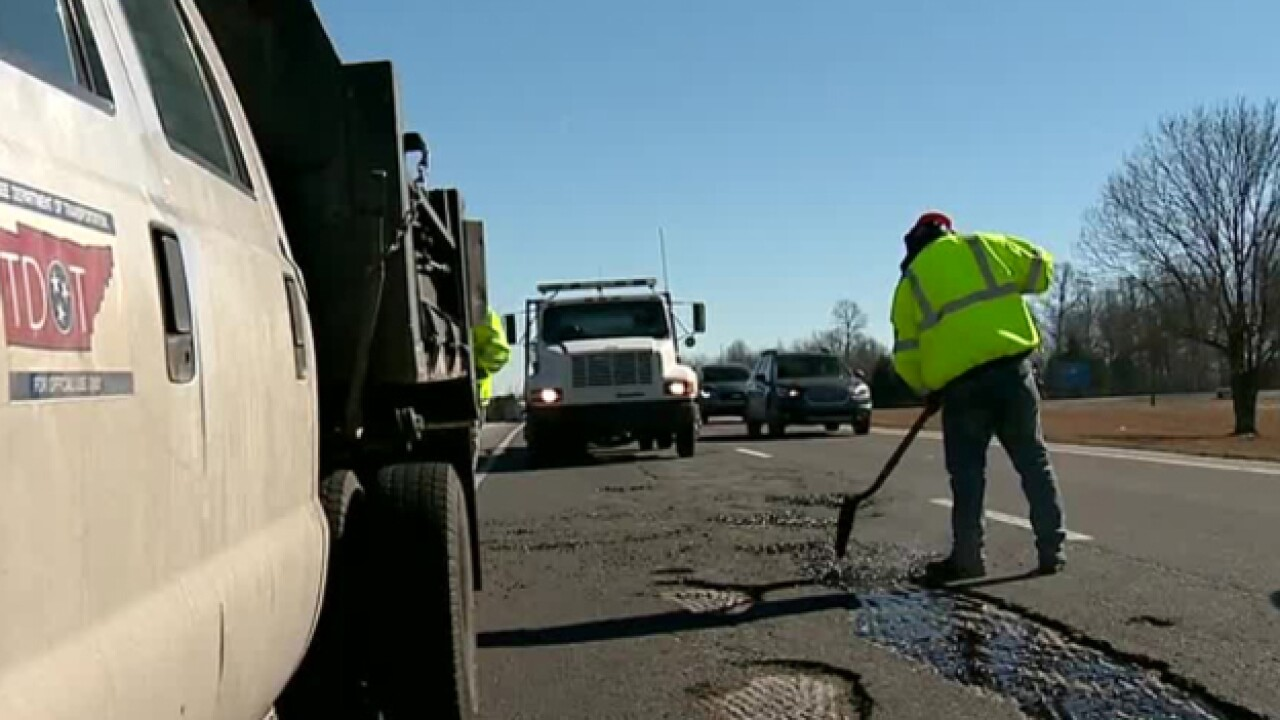 Crews Patch Potholes After Snowfall