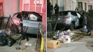 SUV crashes into building in Crown Heights
