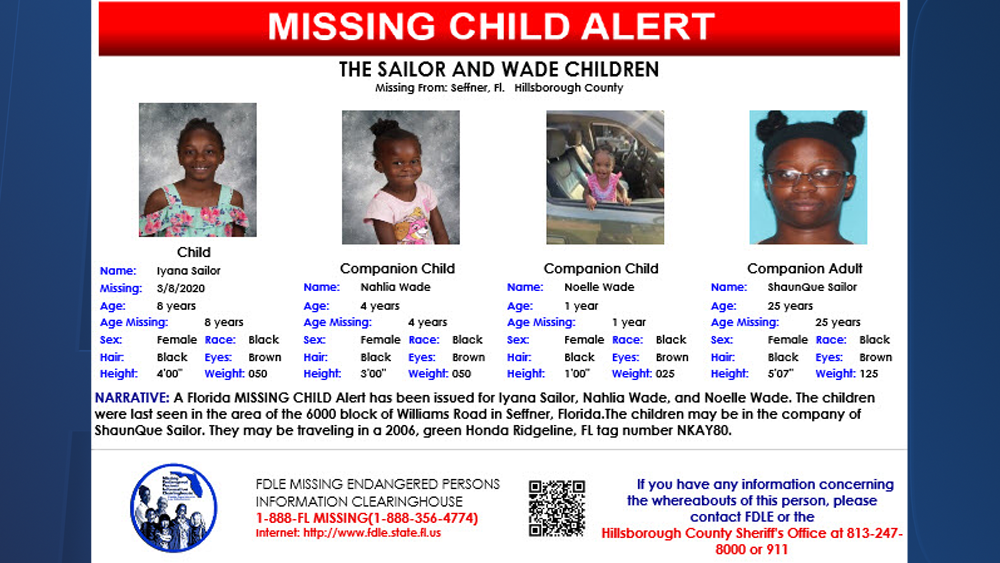 Missing child alert issued for 3 young girls in Seffner; may be with adult female