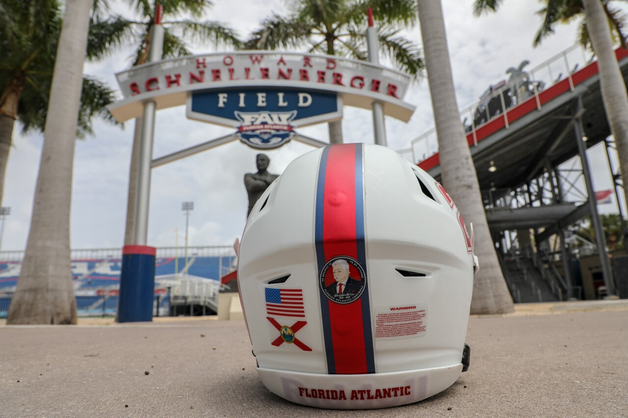 FAU Owls helmet decal honoring Howard Schnellenberger