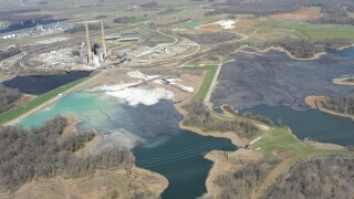 Coal ash ponds at A.B. Brown Power Plant near Evansville.  © 2016 BlairPhotoEVV