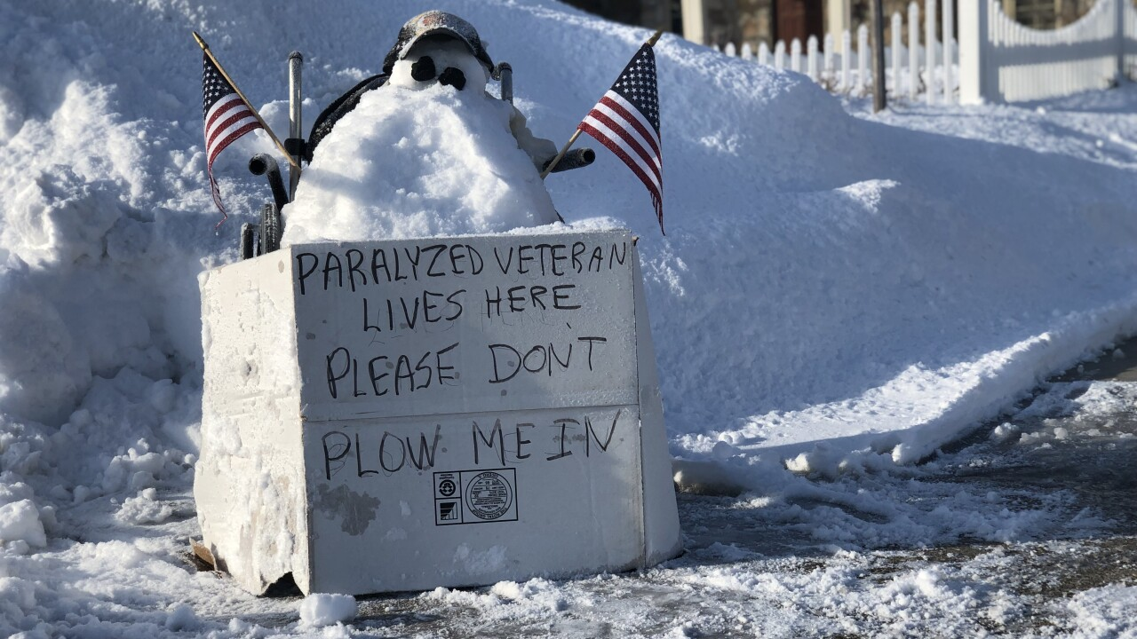 Plow problems leave a paralyzed veteran and his wife snowed in.