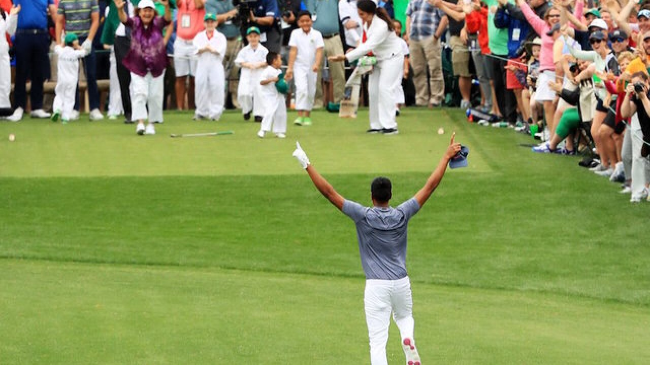 Tony Finau dislocates ankle in Masters hole-in-one celebration