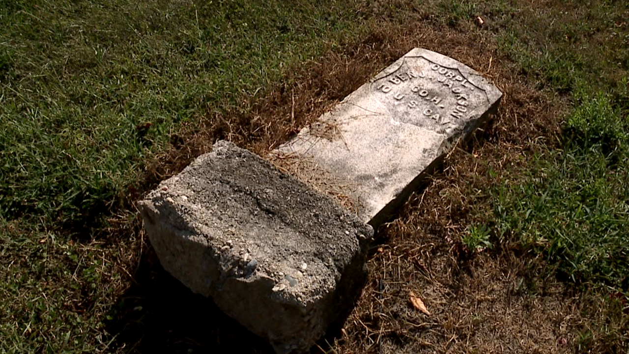 WCPO knocked over headstone union baptist.png