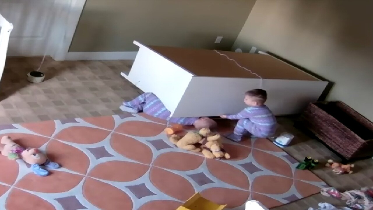2YO boy saves twin brother from fallen dresser