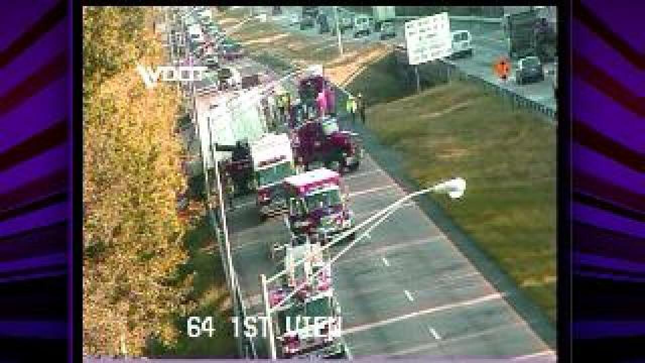 Tractor trailer hits guard rail, blocks traffic on I-64 Eastbound near Bay Ave.