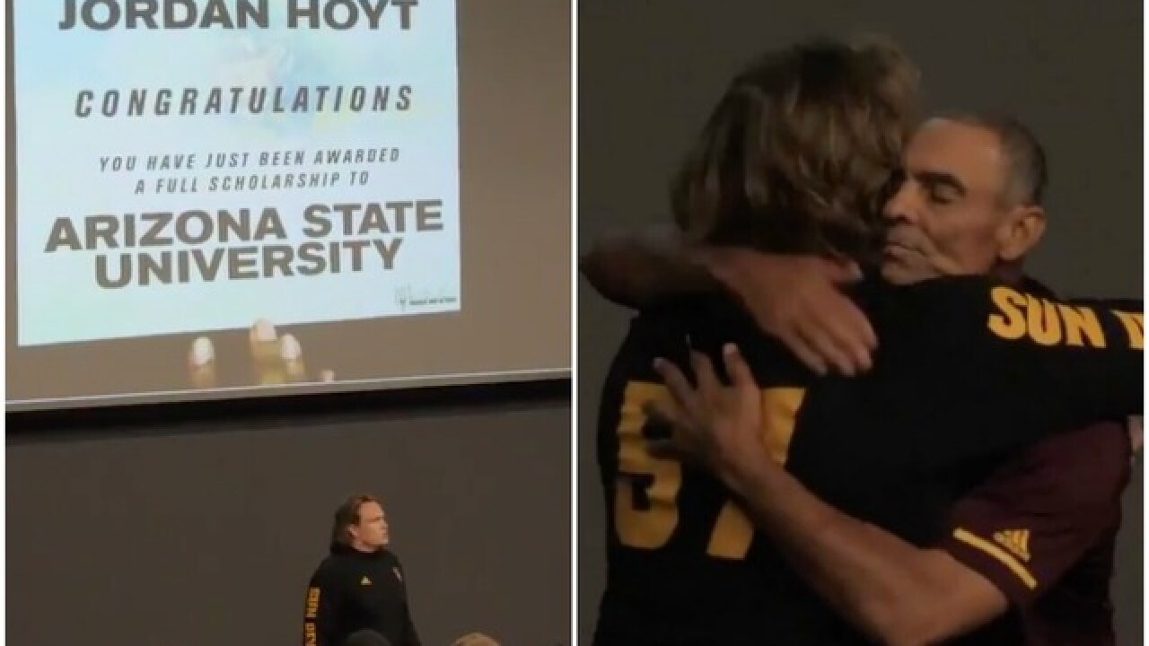 WATCH: Herm Edwards, ASU surprise walk-on football player with scholarship
