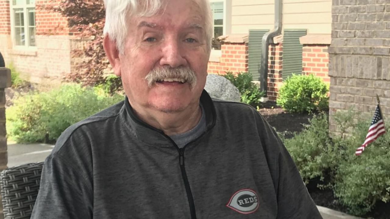 Bob Hayes sitting outside his nursing home