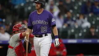 Colorado Rockies first baseman Mark Reynolds (12), r m