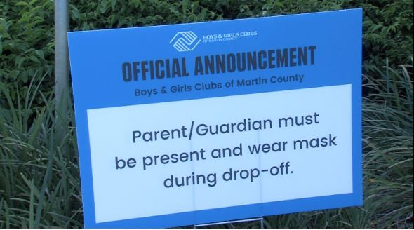 Sign for parents to wear mask.JPG