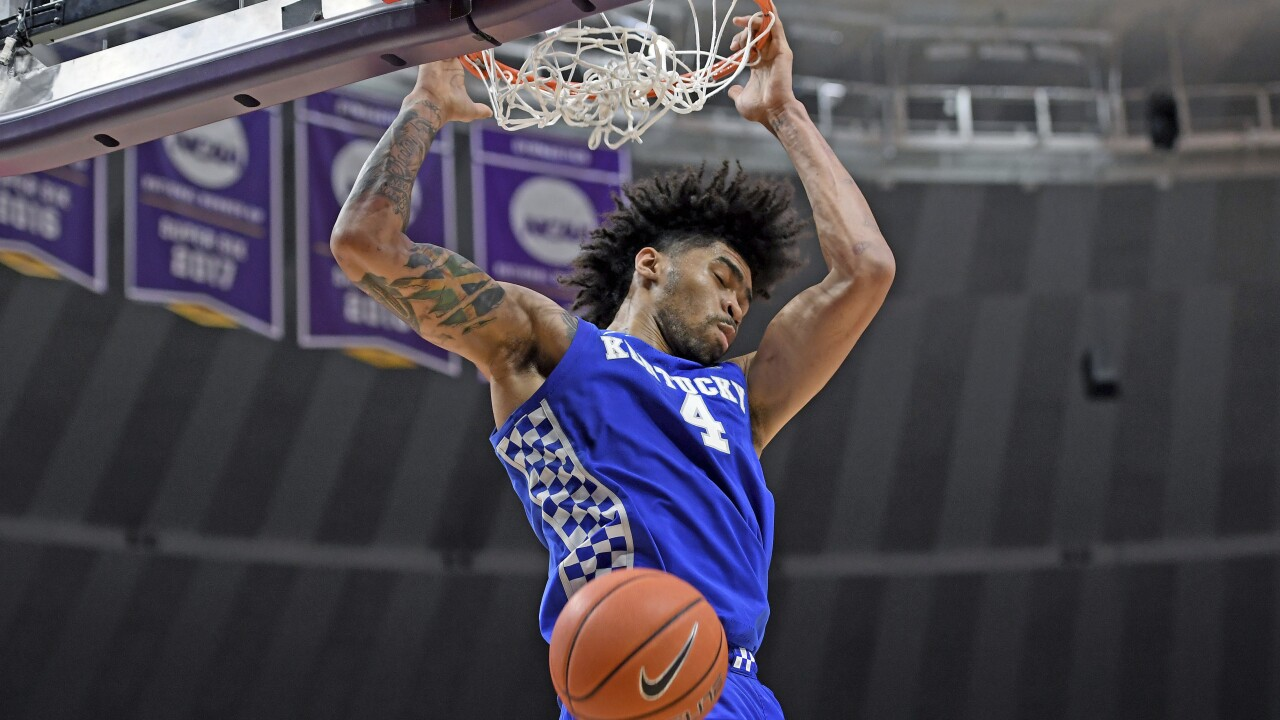 Kentucky's junior center, Nick Richards had a tremendous showing in his team's victory over LSU. (Photo by: Bill Feig/The Associated Press.)
