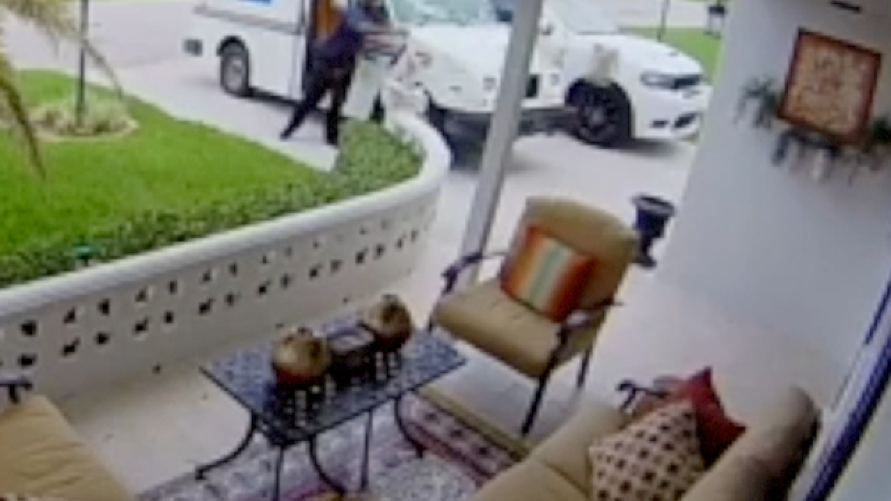 Security camera catches postal worker throwing package