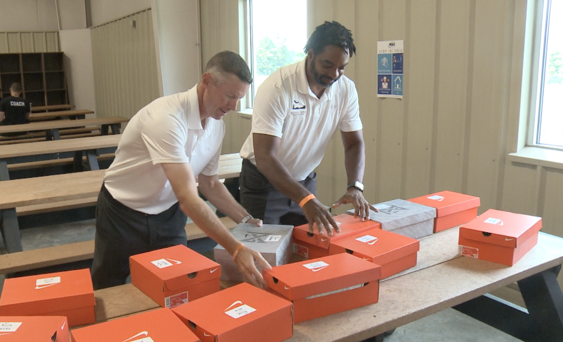 Don Carlson, Galen Duncan set out shoes